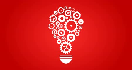 fogaskerekű : Cogs And Gears Spinning In Lightbulb Teamwork Idea Concept On Red Background