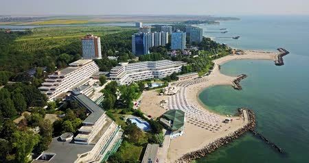 Aerial  View Of Neptun-Olimp Resort At The Black Sea In Romania Стоковые видеозаписи