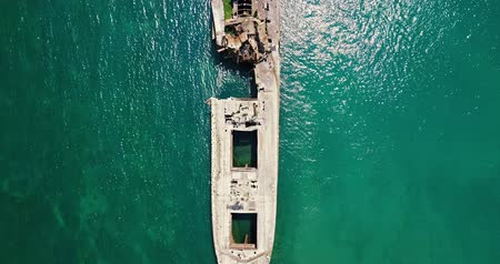 Aerial Drone View Of Old Shipwreck Ghost Ship Vessel Стоковые видеозаписи