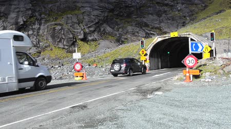 nzl : FIORDLAND, NZ - JAN 14: Homer Tunnel on Jan 14 2014.Its a 1.2km 0.75 miles road tunnel and until it was sealed and enlarged it was the longest gravel-surfaced tunnel in the world.