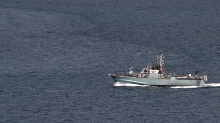 damarlar : EILAT, ISR - APRIL 15 2015:Israeli Navy boat patrolling in the Gulf of Eilat, Israel.Israel Defense Forces, operating primarily in the Mediterranean Sea theater as well as the Red Sea theater. Stok Video