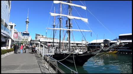 nzl : AUCKLAND - JUNE 01 2014:Spirit of New Zealand mooring at Princes Wharf.Its a tall ship with steel-hulled, three-masted barquentine that was built by the Spirit of Adventure Trust youth development.