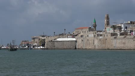 akko : Panoramic landscape view of Acre Akko old city port skyline, Israel.