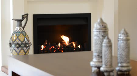 winter place : Fireplace in a warm living room Stock Footage