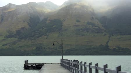 nzl : Landscape from Glenorchy wharf on lake wakatipu Otago, Glenorchy New Zealand. Stock Footage