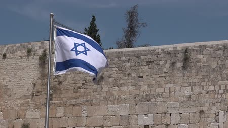 jerozolima : Israel national flag fly in Western Wall Temple mount Jerusalem old city Israel 01