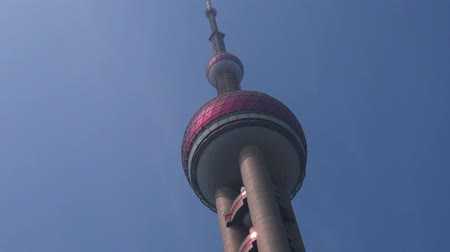 yangtze : Shanghai Oriental Pearl TV Tower in Shanghai, China. Stock Footage