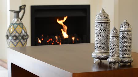 properties : Fireplace in a warm living room Stock Footage