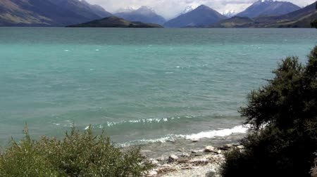 nzl : Landscape of lake Wakatipu near Glenorchy in the south Island, New Zealand. Stock Footage