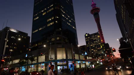nzl : Traffic in Auckland CBD New Zealand at dusk.Auckland is the financial business center and the biggest city in New Zealand and Oceania.
