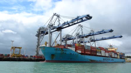 shipping : Big cargo ship unloading containers in Ports of Auckland New Zealand.Its New Zealands busiest port and the third largest container terminal in Australasia. Stock Footage