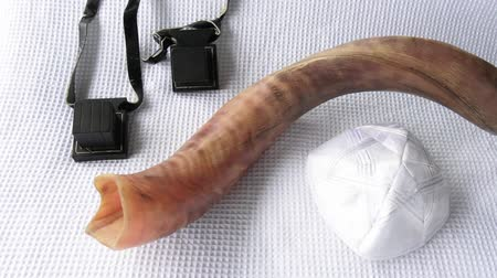 kippur : Shofar (horn) with Tefillin and Yamaka on Rosh Hashanah and Yom Kippur High Holidays. Traditional Jewish holiday symbol. Concept with copy space