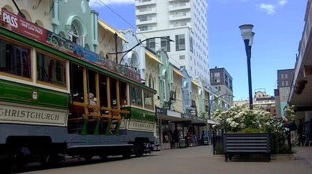 nzl : Christchurch Tramway tram system.The tramway operate since 1882 and become one of the symbols of Christchurch and a popular attraction for tourists and locals alike. Stock Footage