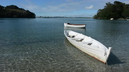 düzgün : An old wooden dinghy row boats mooring in Leigh, New Zealand