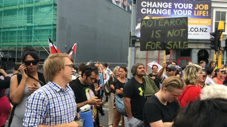 nzl : AUCKLAND - FEB 04 2016:Thousands of anti-TPPA protesters marched and blocks major roads and intersections in Auckland as 12 Pacific-rim countries signed the TPPA trade deal in Sky City, Auckland New Zealand.