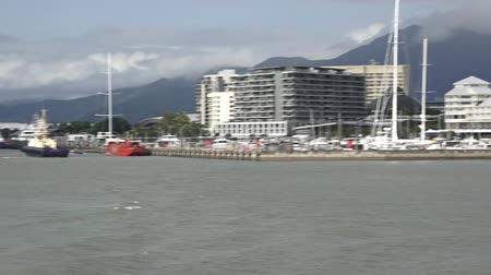 shangri la : CAIRNS, AUS - APR 15 2016: Cairns Marlin Marina in Queensland Australia. Located at the entrance to Trinity Inlet its a significant departure location of tourism tours to the Great Barrier Reef. Stock Footage