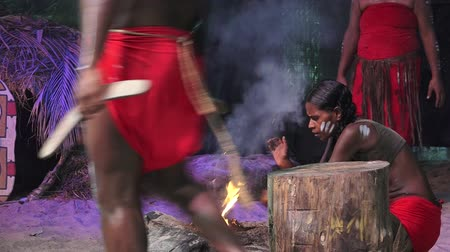 bennszülött : Yugambeh Aboriginal people demonstrate fire making craft during Aboriginal culture show in Queensland, Australia. Stock mozgókép
