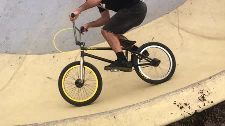bmx : Freestyle BMX cycles riders ride in urban bike park