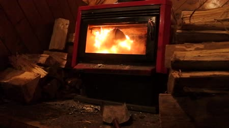 cozy : Warm fireplace fire with wood logs on cold winter night Stock Footage