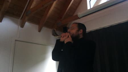 kippur : Jewish orthodox rabbi man demonstrate how to blow a shofar, an ancient musical horn made of rams horn, used for Jewish religious purposes. Stock Footage
