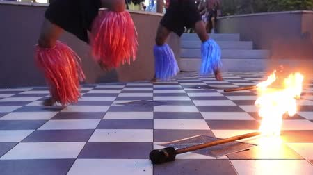 melanesia : Street Fire performance in Port Denarau Shopping Centre  in Nadi, Fiji.It is a very popular travel destination in Nadi, Fiji. Stock Footage
