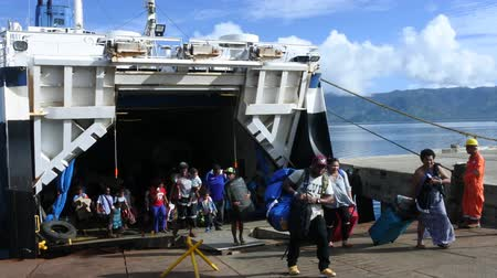 suva : Passengers departing of inter island ferry between the major Islands of Fiji, Viti Levu and Vanua Levu.Fiji spread over the southwest Pacific, covering almost 1.3 million km2