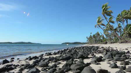 melanesia : Landscape of a wild beach on a remote tropical island in the Yasawa Islands group, Fiji