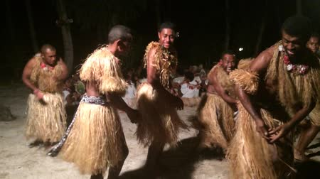 melanesia : Indigenous Fijian men dancing the traditional meke wesi male dance. Real people