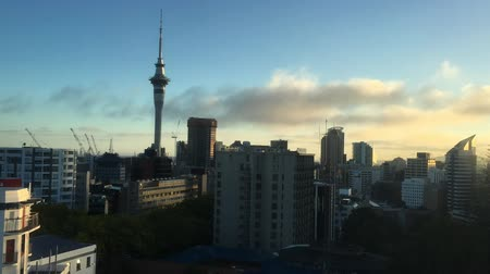 nzl : Time lapse of Auckland downtown morning skyline.Auckland is the largest Polynesian city in the world