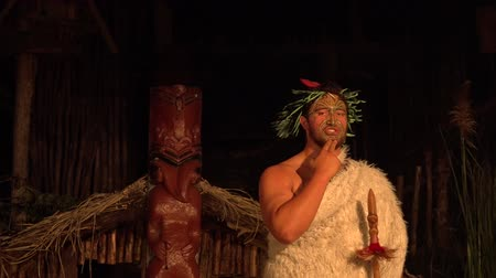 Új zéland : Maori man explain about Ta Moko. Maori are the indigenous people of New Zealand that migrated to New Zealand from Polynesia1000 years ago.