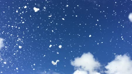 magia : Snowflakes falling from the sky in slow motion. Winter holiday background. Copy space