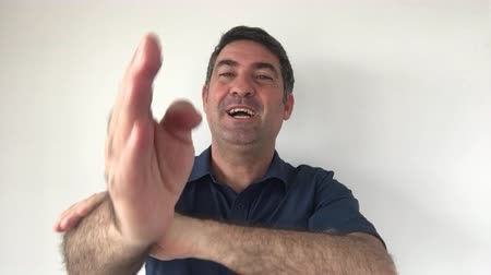 expressed : Italian man demonstrate You got it  sign of Italian hand gestures. Body language and facial expression communication concept. Real people. copy space Stock Footage