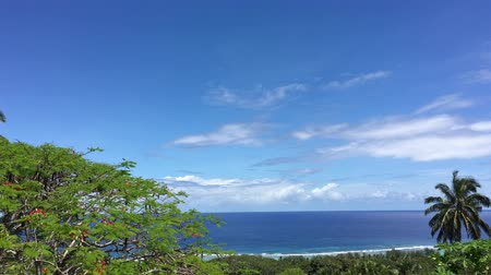 ck : Aerial view of the Pacific Ocean from Rarotonga Cook Islands