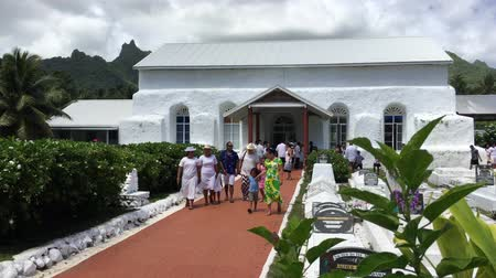 ck : Cook Islanders exit from Ekalesia Matavera CICC church in Rarotonga, Cook Islands.The Ekalesia Matavera Cook islands Christian Church dedicated in 1857