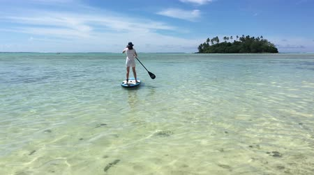 sky only : Woman on a paddle boarding in Muri Lagoon Rarotonga Cook Islands Stock Footage