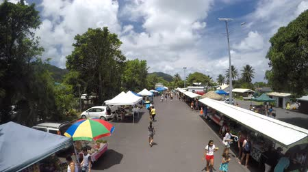 cook islanders : Aerial view of Punanga Nui Market in Avarua town, Cook Islands.Its one of the highly regarded traditional markets in the South Pacific and were tourists mix with the locals.