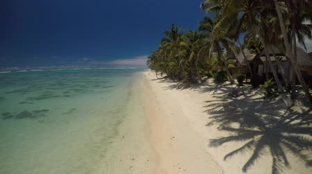 ck : Aerial view Titikaveka beach Rarotonga Cook Islands Stock Footage