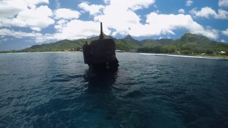 ck : Shipwreck Avarue Raratonga Cook Islands Stock Footage