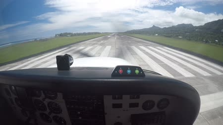 cook islanders : Flying cessna plane cockpit during landing in Rarotonga Cook Islands