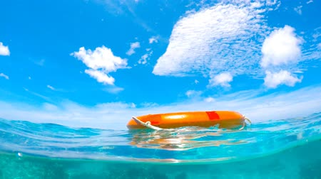 preserver : life saving buoy in the water to prevent drowning