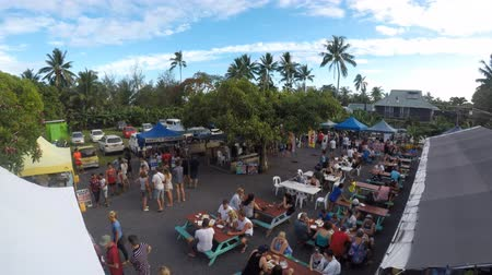 cook islanders : Aerial view of Muri Night Market Rarotonga Cook Islands Stock Footage