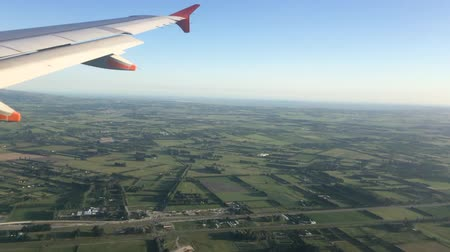 nový zéland : Landscape view from a jet plane window of Christchurch New Zealand south island.