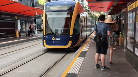 rapid transit : Gold Coast Light Rail G in Surfers Paradise Av. Its a single 20-kilometre (12 mi) line of nineteen stations serving the Gold Coast in Queensland, Australia.