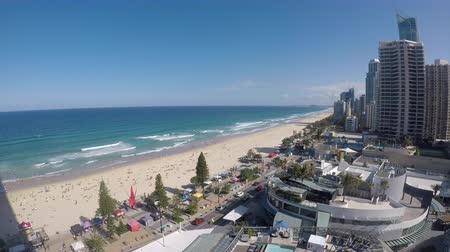 Aerial landscape view of Surfers Paradise urban cityscape in Gold Coast Queensland, Australia.