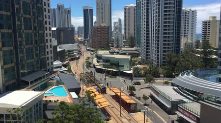 Aerial view of Gold Coast Light Rail G in Surfers Paradise Av in Gold Coast Queensland, Australia.The line opened on July 2014 and it 13 Km (8.1 mi) long.