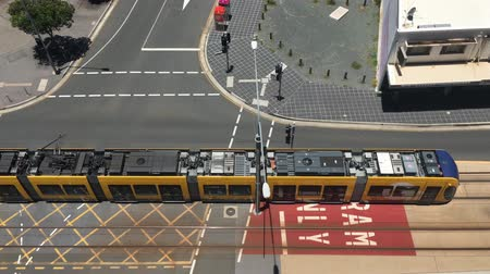 rapid transit : Aerial view of Gold Coast Light Rail G in Surfers Paradise Av in Gold Coast Queensland, Australia.The line opened on July 2014 and it 13 Km (8.1 mi) long.