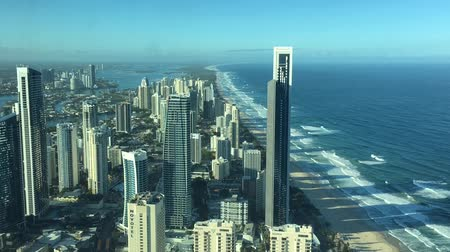 Aerial urban time lapse landscape view of Surfers Paradise skyline in Gold Coast Queensland, Australia. Stock mozgókép