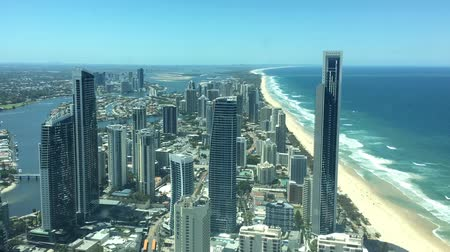 Aerial urban landscape view of Surfers Paradise skyline in Gold Coast Queensland, Australia.