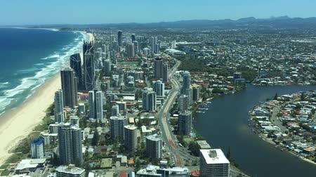 Aerial urban time lapse landscape view of Broadbeach skyline in Gold Coast Queensland, Australia. Time Lapse Stock mozgókép