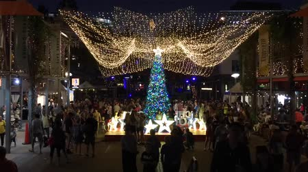 Квинсленд : Australian people celebrate Christmas in Southbank at night, Brisbane City, Queensland, Australia